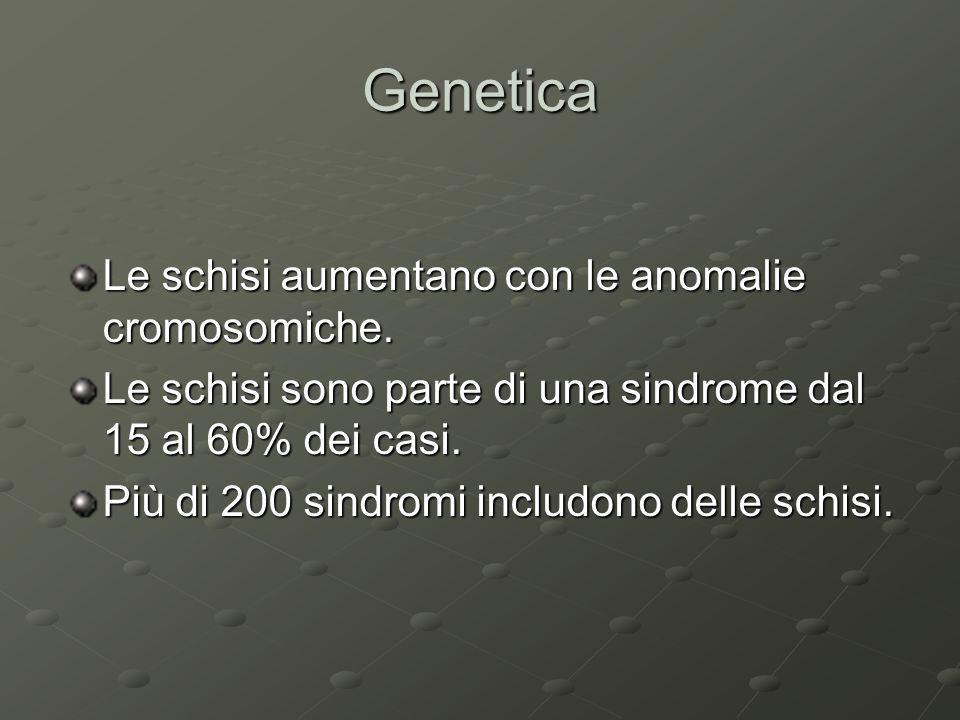 Genetica Le schisi aumentano con le anomalie cromosomiche.