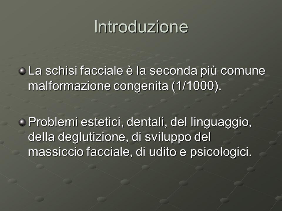 IntroduzioneLa schisi facciale è la seconda più comune malformazione congenita (1/1000).