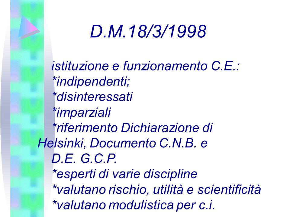 D.M.18/3/1998 istituzione e funzionamento C.E.: *indipendenti;