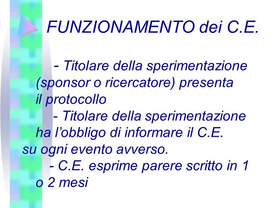 FUNZIONAMENTO dei C.E. - Titolare della sperimentazione (sponsor o ricercatore) presenta il protocollo.