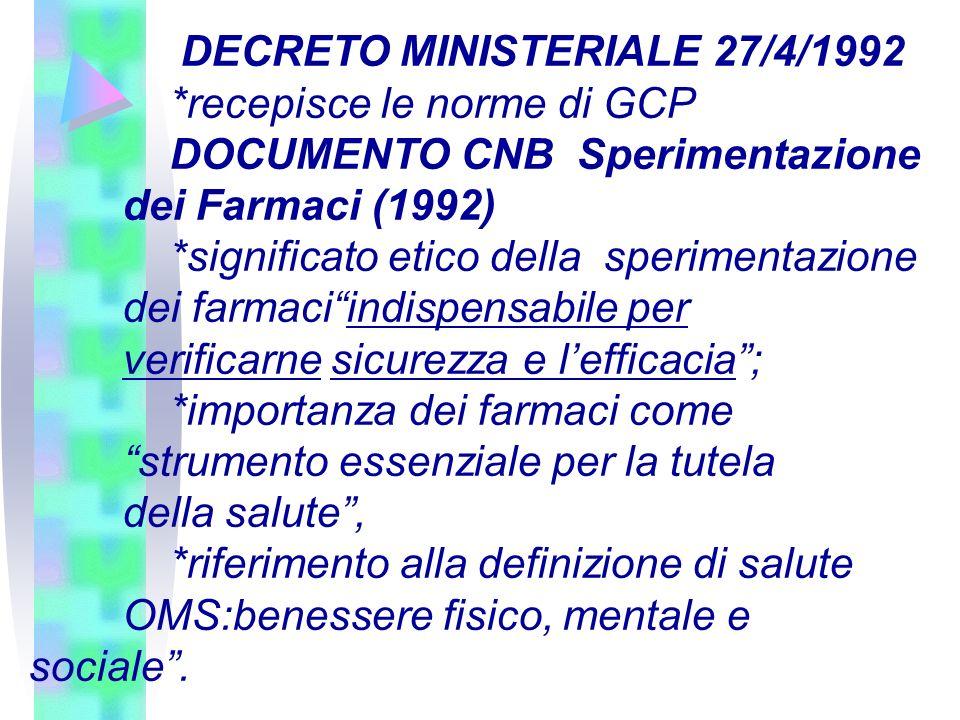 DECRETO MINISTERIALE 27/4/1992