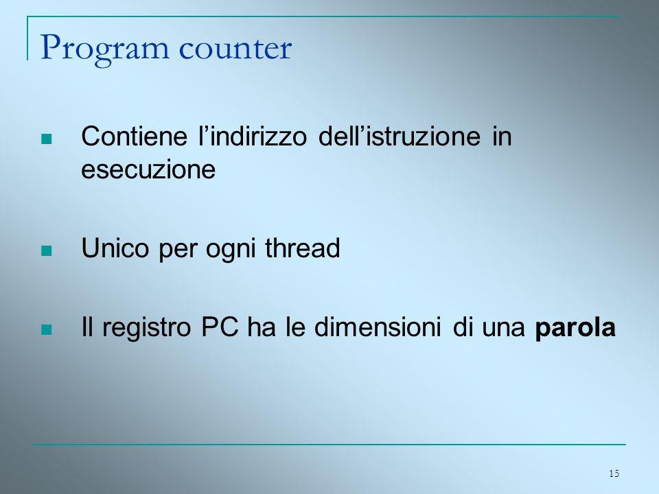 Program counter Contiene l'indirizzo dell'istruzione in esecuzione