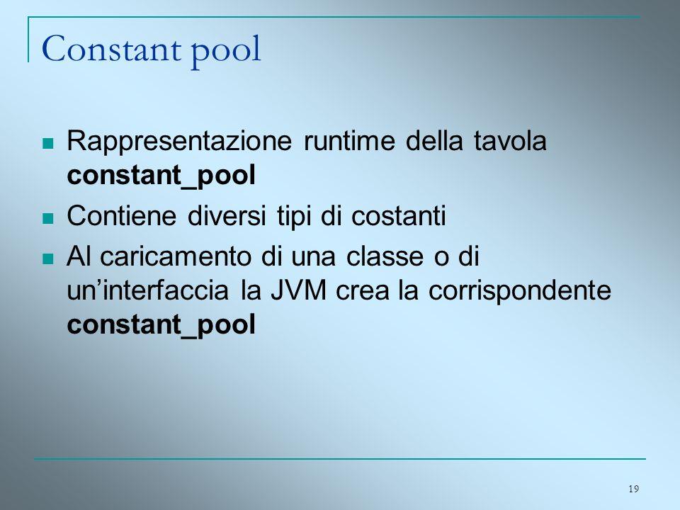 Constant pool Rappresentazione runtime della tavola constant_pool
