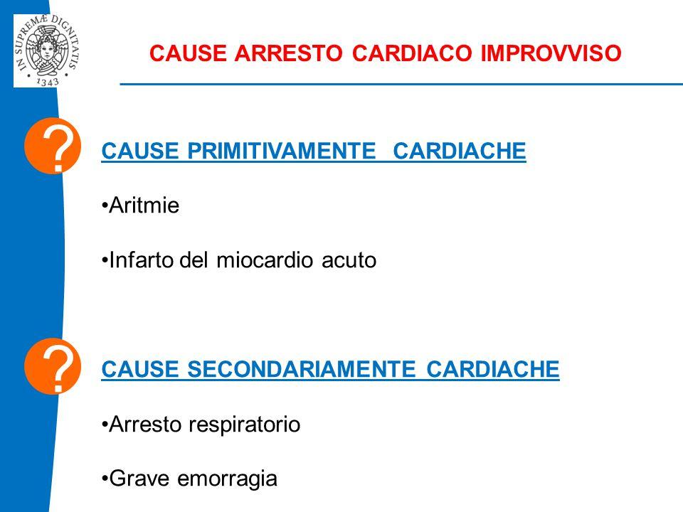 CAUSE ARRESTO CARDIACO IMPROVVISO CAUSE PRIMITIVAMENTE CARDIACHE