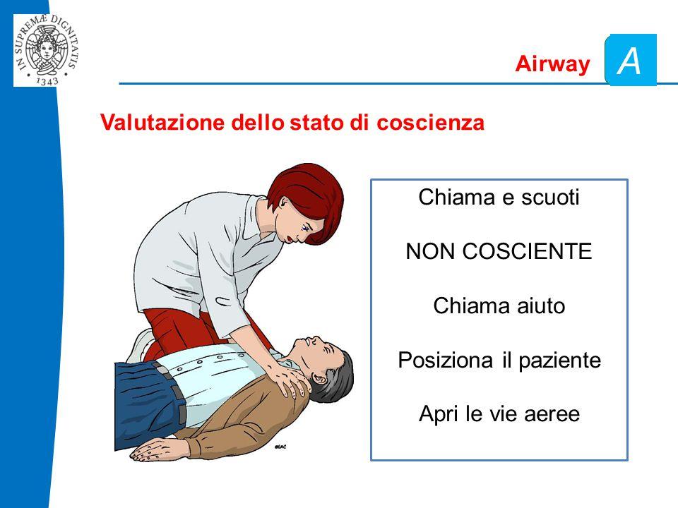A Airway Valutazione dello stato di coscienza Chiama e scuoti