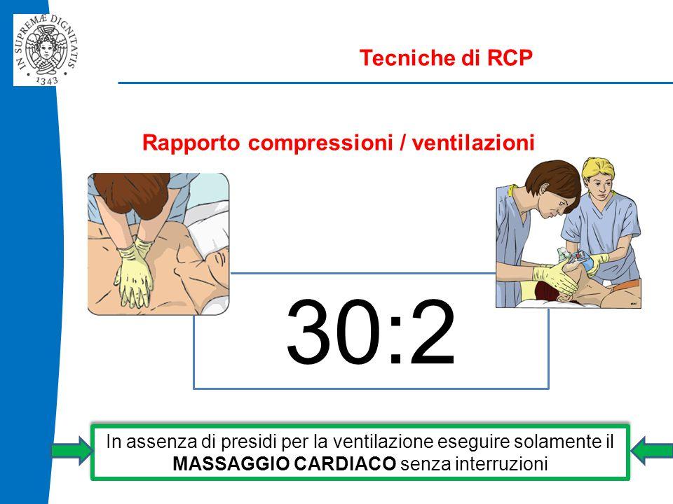 30:2 Tecniche di RCP Rapporto compressioni / ventilazioni