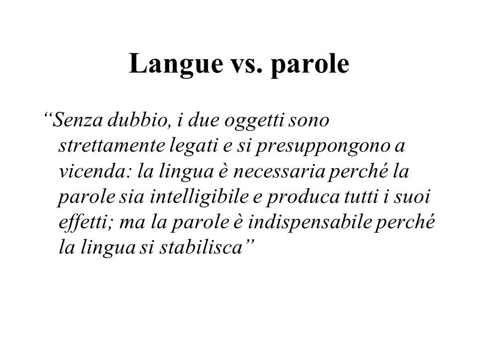 Langue vs. parole