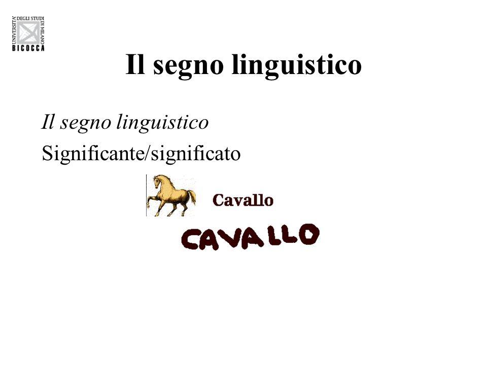 Il segno linguistico Il segno linguistico Significante/significato