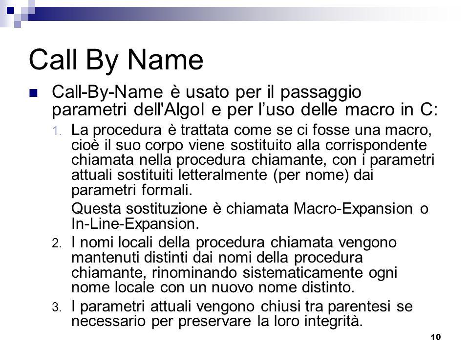 Call By Name Call-By-Name è usato per il passaggio parametri dell Algol e per l'uso delle macro in C: