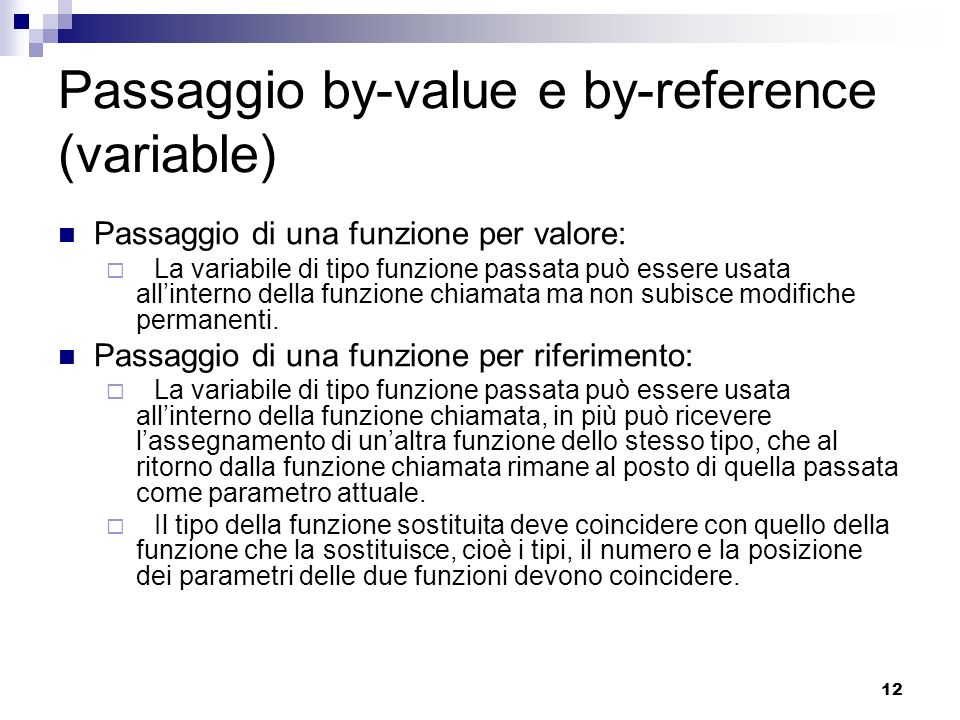 Passaggio by-value e by-reference (variable)