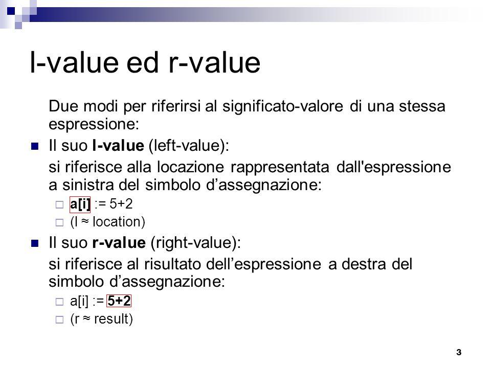 l-value ed r-value Due modi per riferirsi al significato-valore di una stessa espressione: Il suo l-value (left-value):