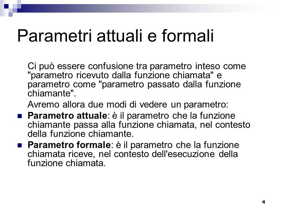 Parametri attuali e formali