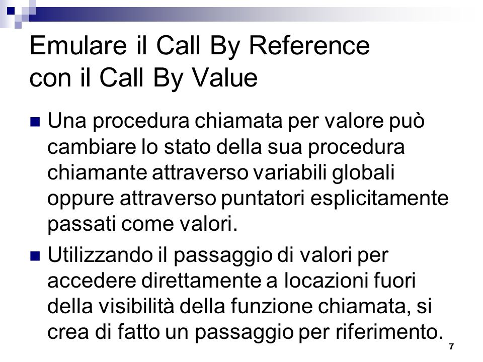 Emulare il Call By Reference con il Call By Value