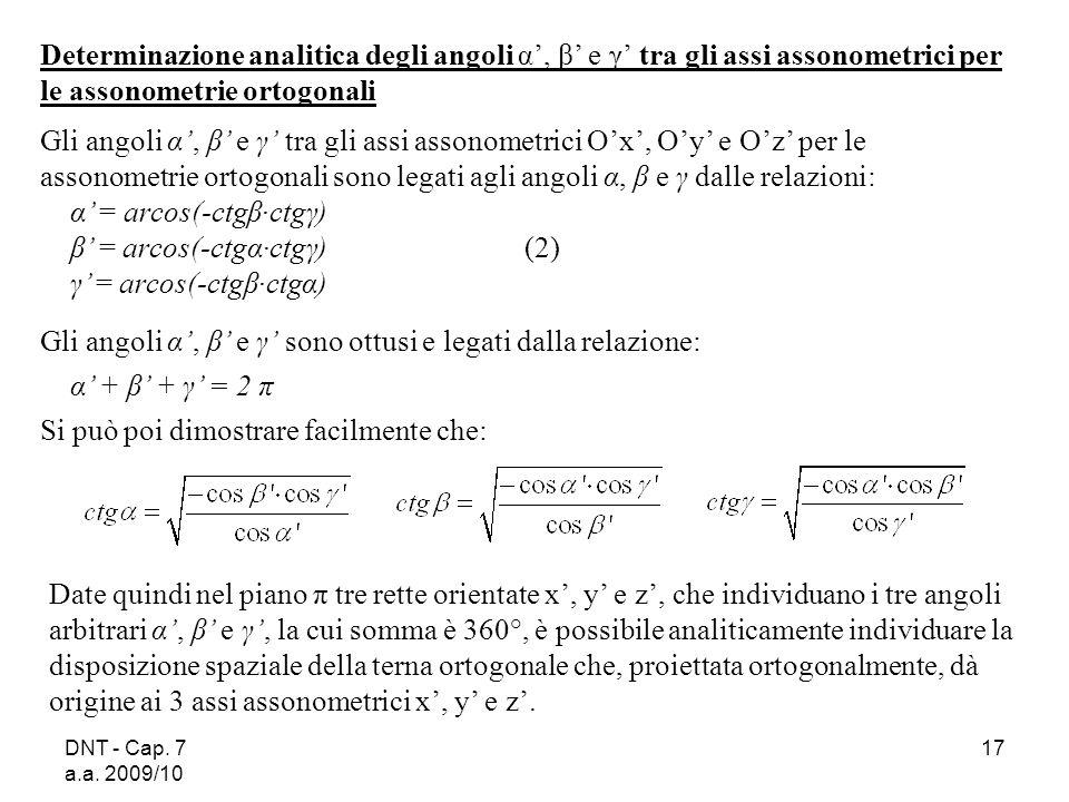 α' = arcos(-ctgβ·ctgγ) β' = arcos(-ctgα·ctgγ) (2)