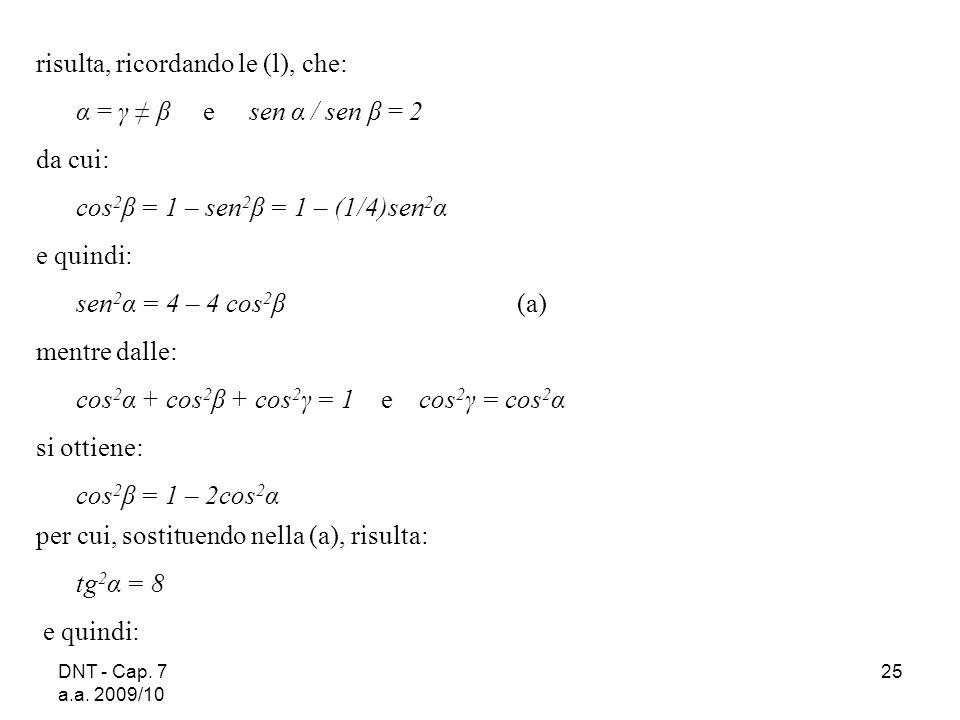 risulta, ricordando le (l), che: α = γ ≠ β e sen α / sen β = 2 da cui: