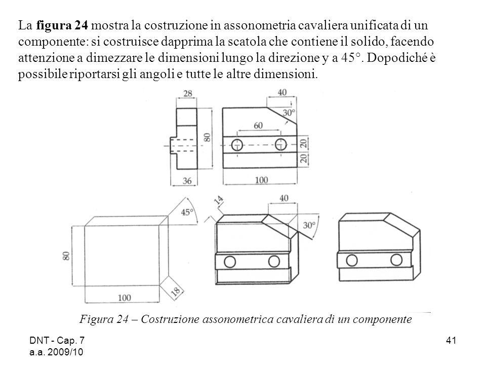 La figura 24 mostra la costruzione in assonometria cavaliera unificata di un componente: si costruisce dapprima la scatola che contiene il solido, facendo attenzione a dimezzare le dimensioni lungo la direzione y a 45°. Dopodiché è possibile riportarsi gli angoli e tutte le altre dimensioni.