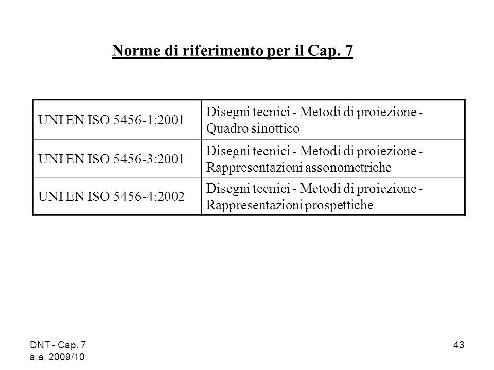 Norme di riferimento per il Cap. 7