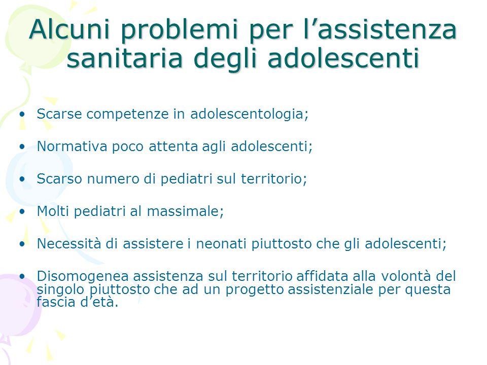 Alcuni problemi per l'assistenza sanitaria degli adolescenti