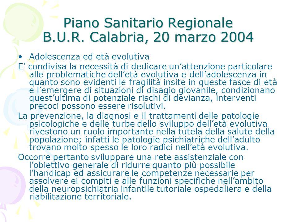 Piano Sanitario Regionale B.U.R. Calabria, 20 marzo 2004