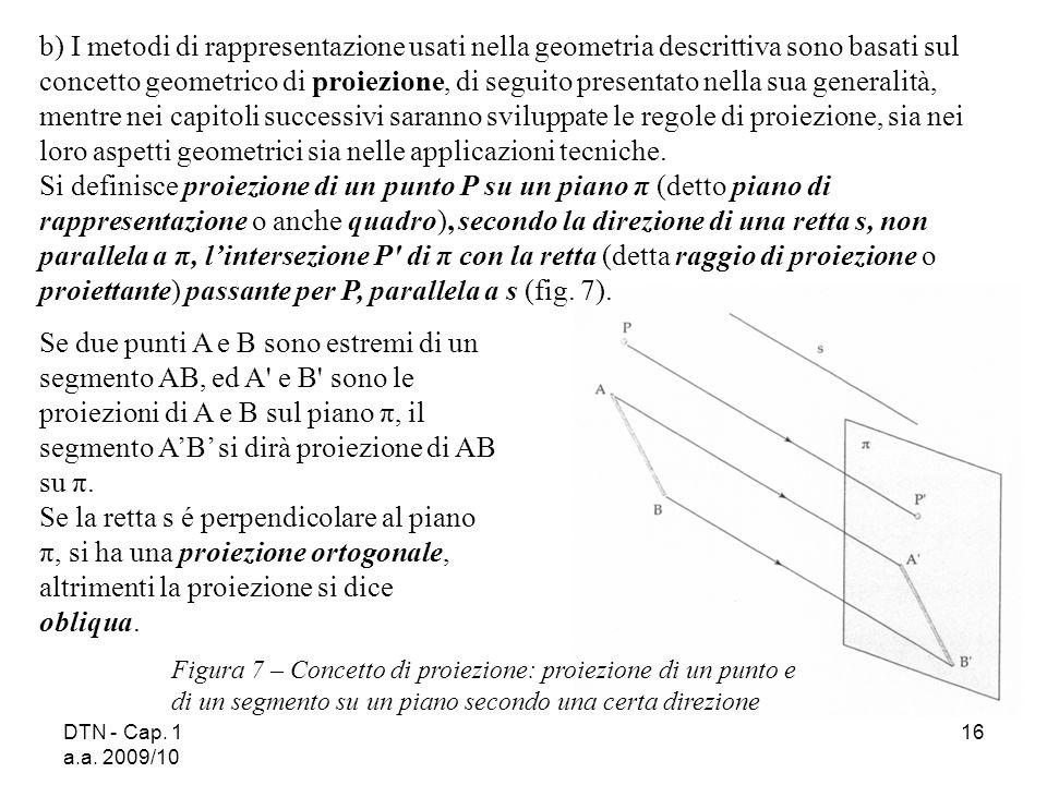 b) I metodi di rappresentazione usati nella geometria descrittiva sono basati sul concetto geometrico di proiezione, di seguito presentato nella sua generalità, mentre nei capitoli successivi saranno sviluppate le regole di proiezione, sia nei loro aspetti geometrici sia nelle applicazioni tecniche.