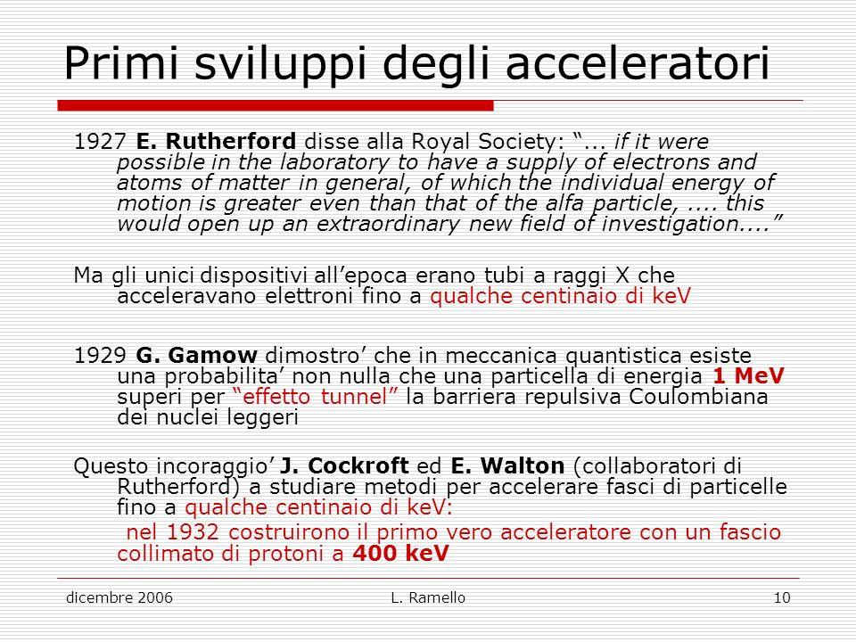 Primi sviluppi degli acceleratori
