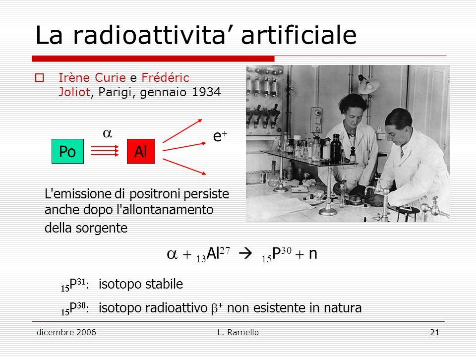 La radioattivita' artificiale
