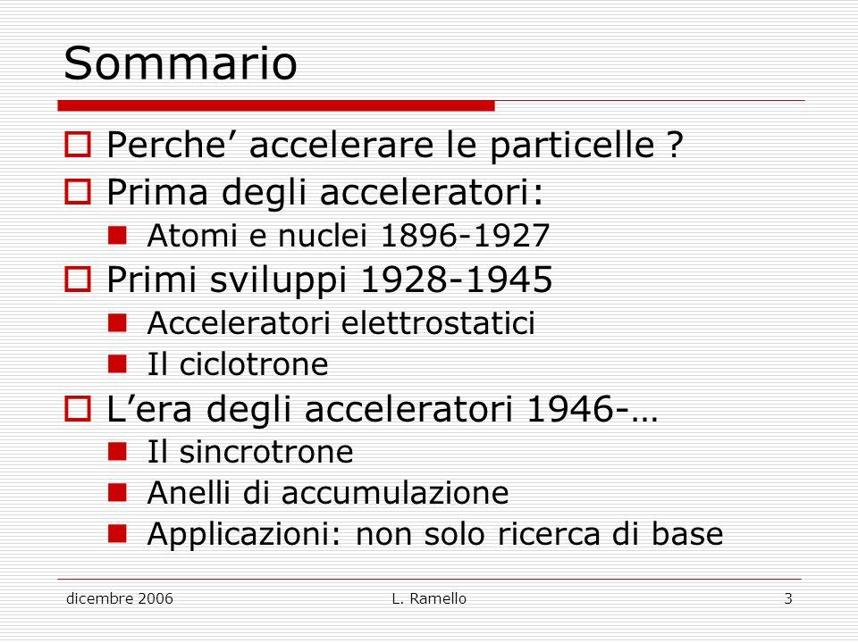 Sommario Perche' accelerare le particelle Prima degli acceleratori: