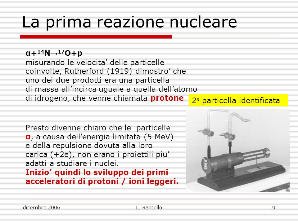 La prima reazione nucleare