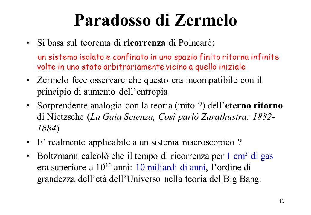 Paradosso di Zermelo Si basa sul teorema di ricorrenza di Poincarè: