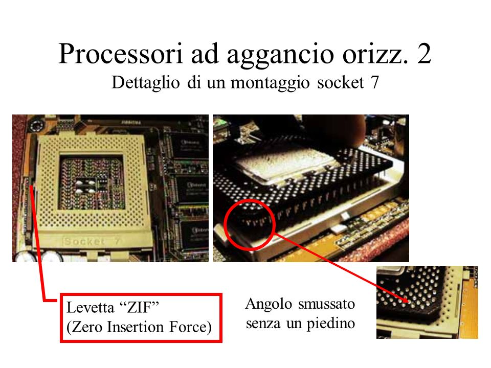 Processori ad aggancio orizz. 2 Dettaglio di un montaggio socket 7