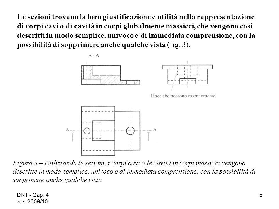 Le sezioni trovano la loro giustificazione e utilità nella rappresentazione di corpi cavi o di cavità in corpi globalmente massicci, che vengono così descritti in modo semplice, univoco e di immediata comprensione, con la possibilità di sopprimere anche qualche vista (fig. 3).