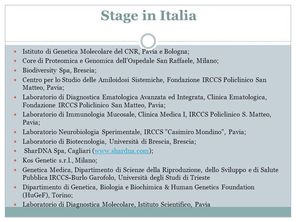Stage in Italia Istituto di Genetica Molecolare del CNR, Pavia e Bologna; Core di Proteomica e Genomica dell'Ospedale San Raffaele, Milano;