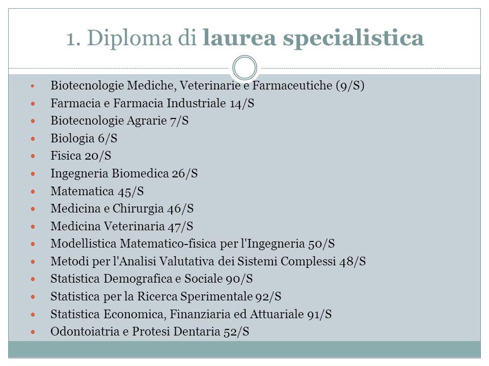 1. Diploma di laurea specialistica