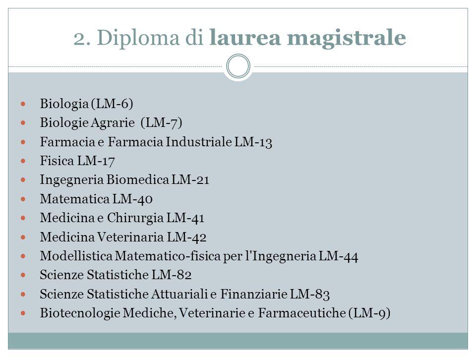 2. Diploma di laurea magistrale