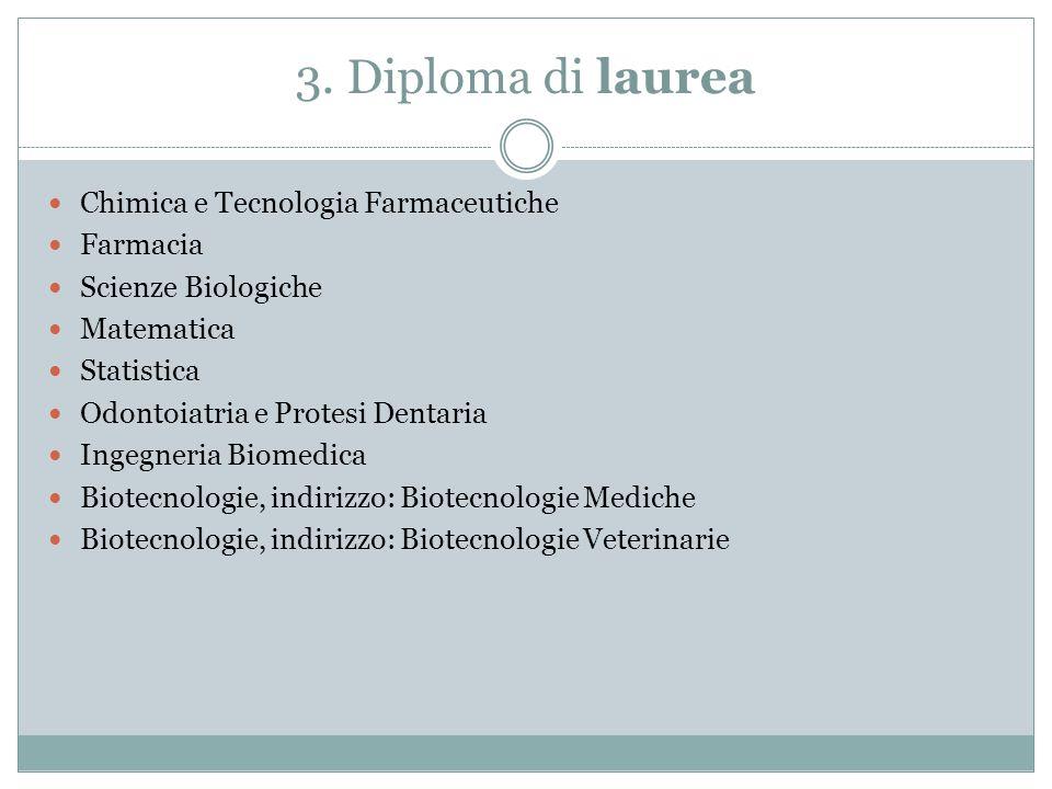 3. Diploma di laurea Chimica e Tecnologia Farmaceutiche Farmacia