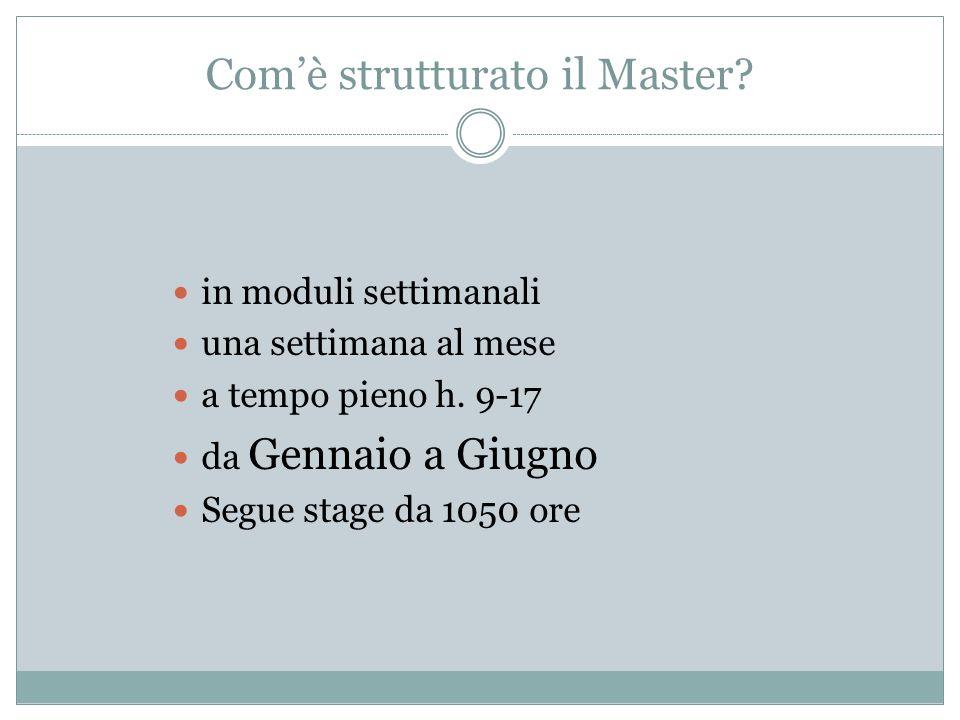 Com'è strutturato il Master
