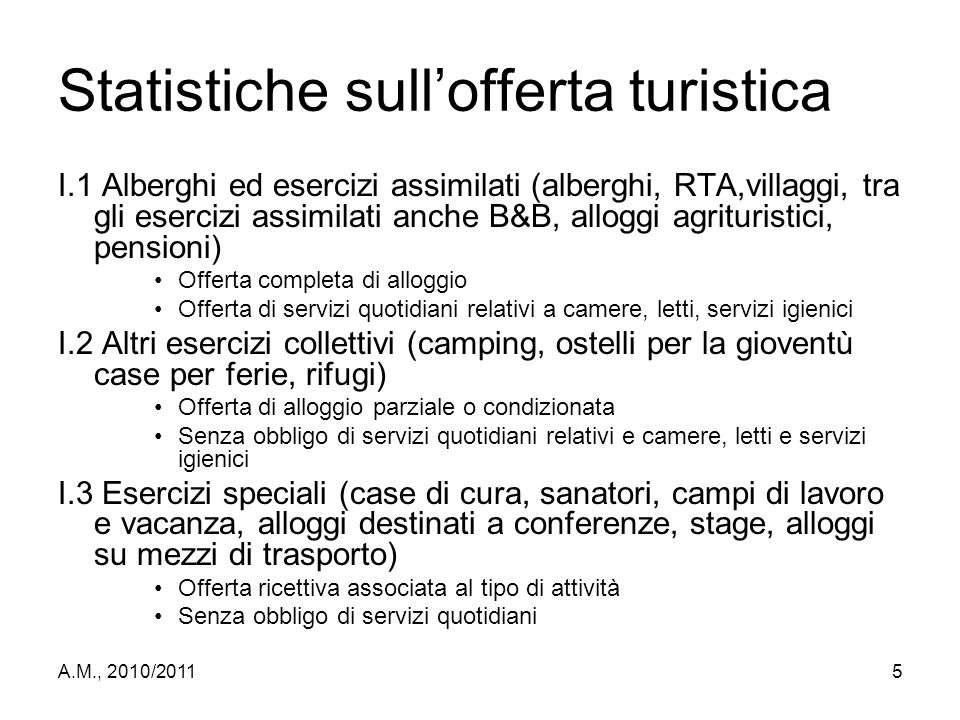 Statistiche sull'offerta turistica