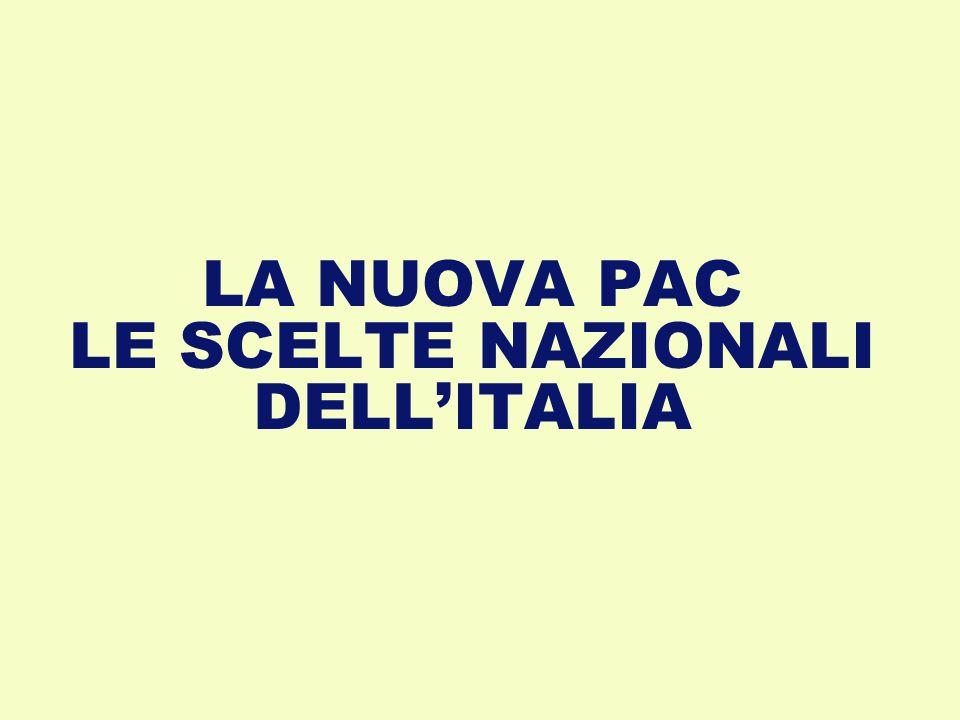 LA NUOVA PAC LE SCELTE NAZIONALI DELL'ITALIA
