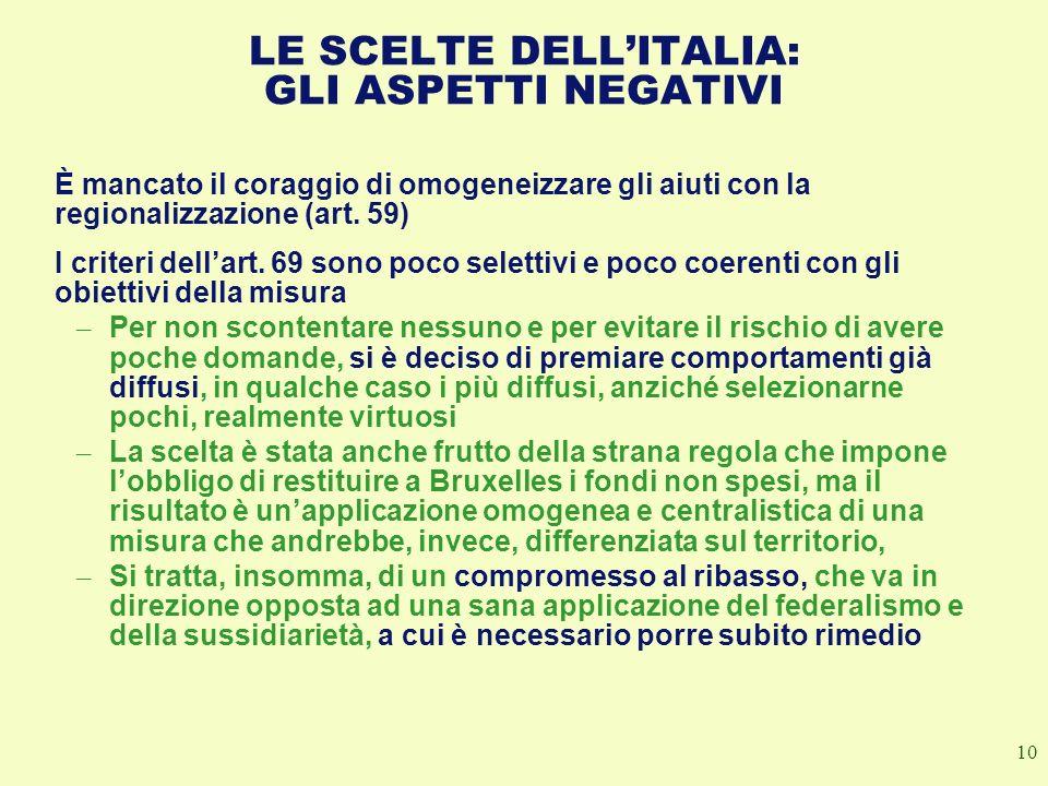 LE SCELTE DELL'ITALIA: GLI ASPETTI NEGATIVI