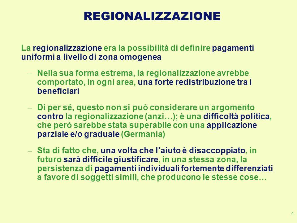 REGIONALIZZAZIONE La regionalizzazione era la possibilità di definire pagamenti uniformi a livello di zona omogenea.