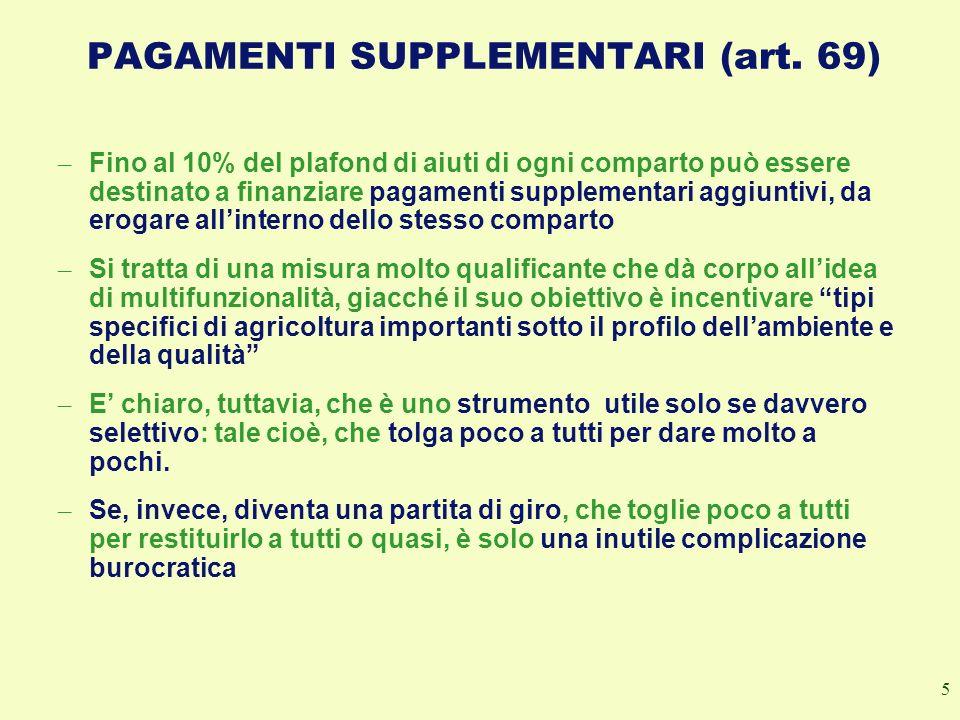 PAGAMENTI SUPPLEMENTARI (art. 69)