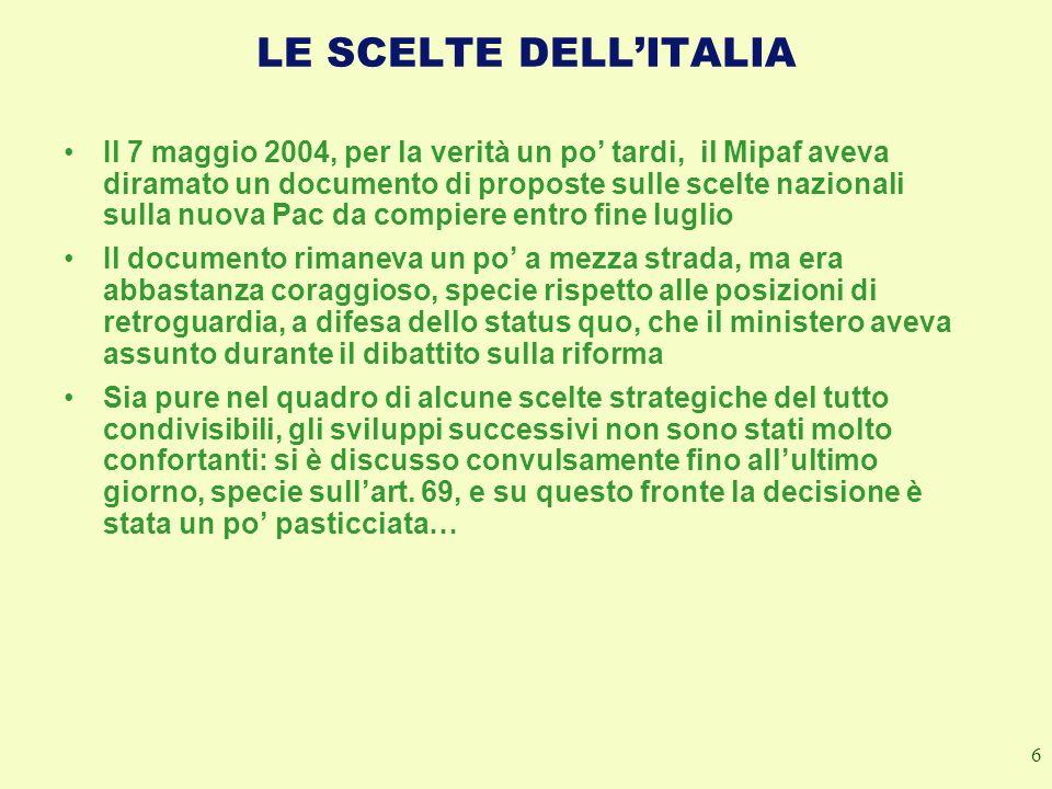 LE SCELTE DELL'ITALIA