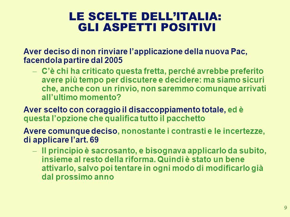 LE SCELTE DELL'ITALIA: GLI ASPETTI POSITIVI