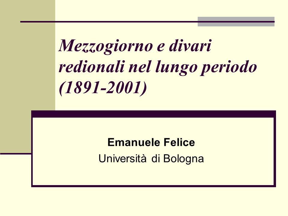 Mezzogiorno e divari redionali nel lungo periodo (1891-2001)