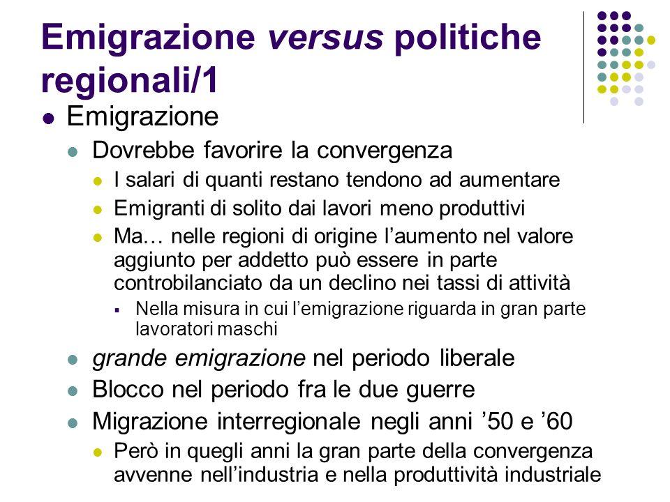 Emigrazione versus politiche regionali/1