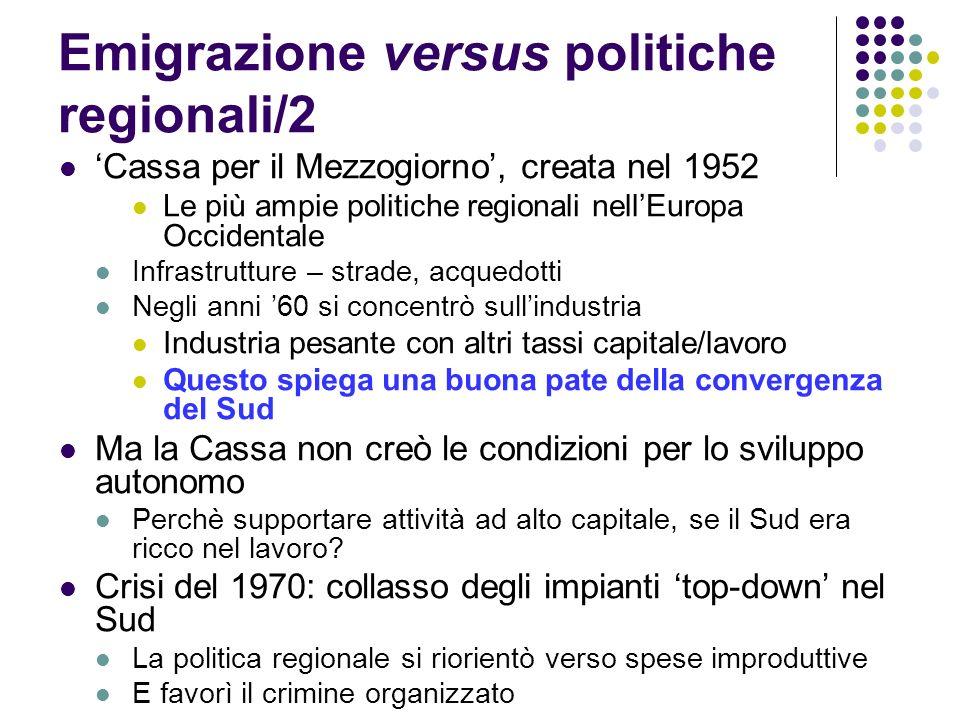 Emigrazione versus politiche regionali/2