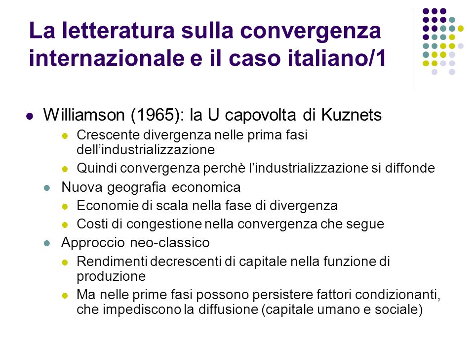 La letteratura sulla convergenza internazionale e il caso italiano/1