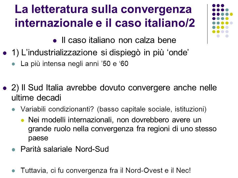 La letteratura sulla convergenza internazionale e il caso italiano/2