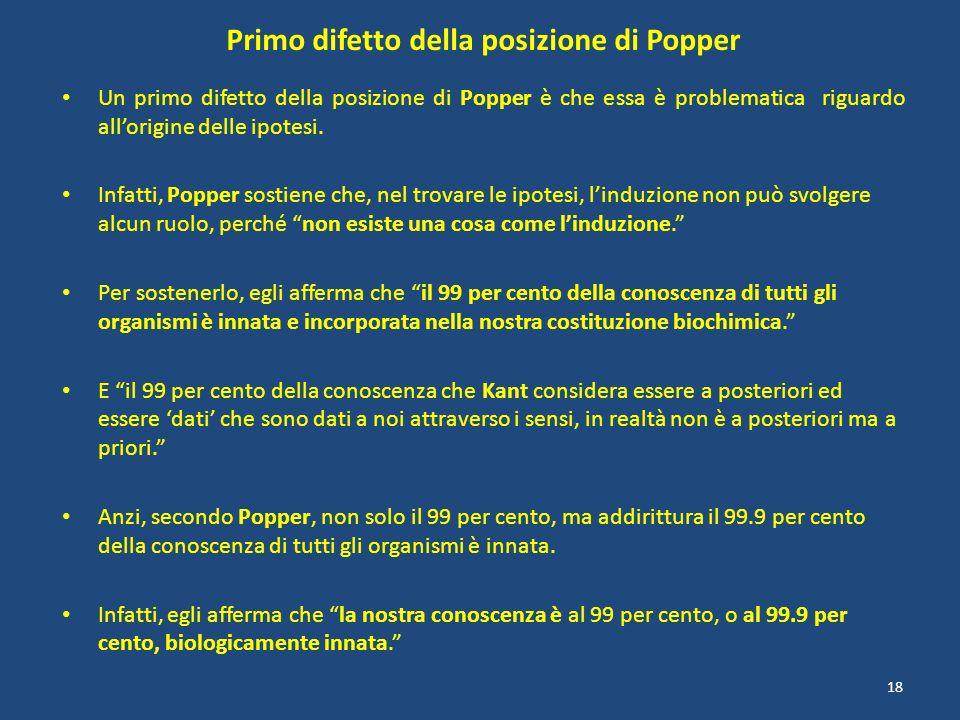 Primo difetto della posizione di Popper