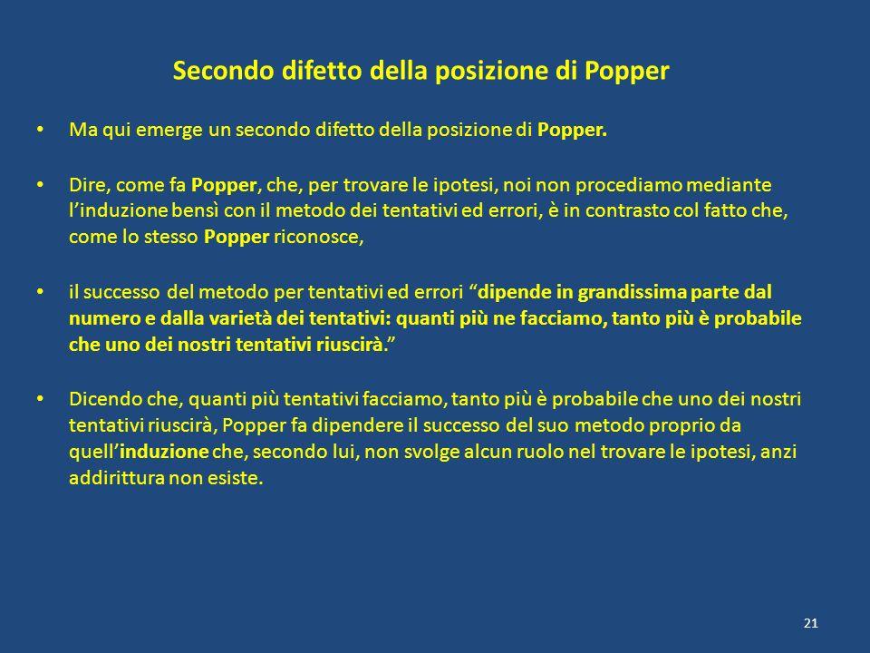 Secondo difetto della posizione di Popper